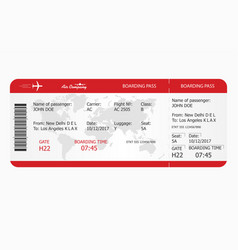 airplane ticket boarding pass ticket template vector image