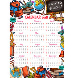 Back to school autumn 2018 calendar sketch vector
