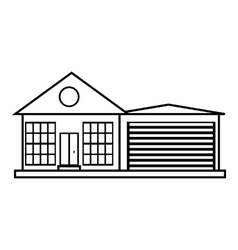 Big house with garage icon outline style vector