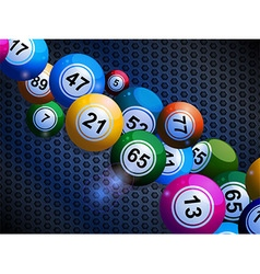 Bingo balls on honeycomb metallic background vector
