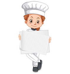blank sign template with happy chef on white vector image