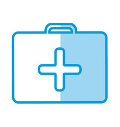 Blue shading silhouette with first aid kit with vector