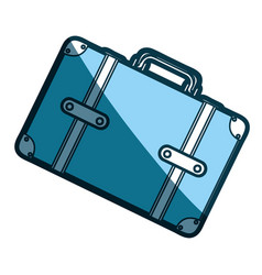 Blue silhouette with suitcase in diagonal position vector