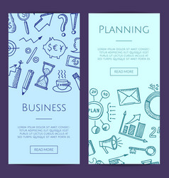 business doodle icons vertical web banners vector image