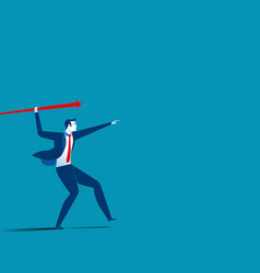 Businessman throwing the javelin concept business vector