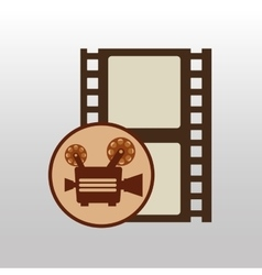 Camera movie vintage strip film icon design vector