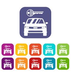 car and key icons set vector image