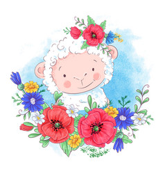 cartoon a cute sheep in a wreath vector image