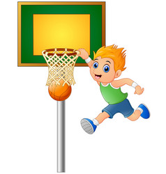 cartoon boy playing basketball vector image