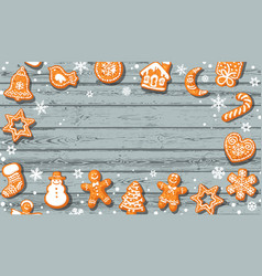 christmas background cute gingerbread cookies on vector image