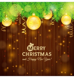 Christmas card on the background of wood vector image vector image