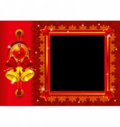 Christmas photo frame with bells vector image