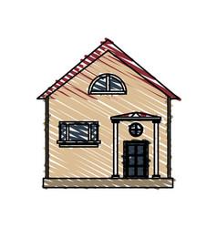 Color crayon stripe cartoon facade structure house vector