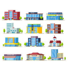 Colorful municipal buildings collection vector