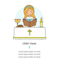 Communion card girl reading bible vector