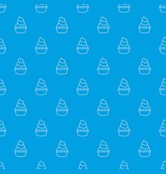 cream cupcake pattern seamless blue vector image