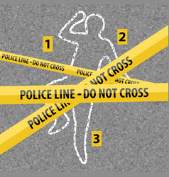 Crime scene contour body with chalk vector
