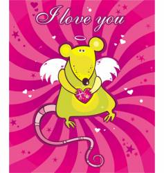 Cupid rat card vector