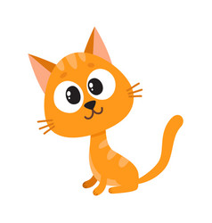 cute and funny red cat character sitting looking vector image
