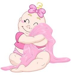 Cute Baby Girl Hugs Pink Blanket vector