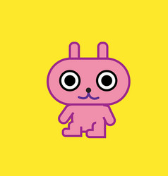 Cute cartoon character pink rabbit art with vector