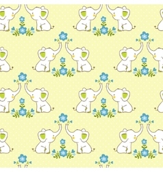 Cute floral seamless pattern with elephants vector image