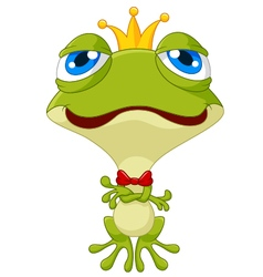 Cute king frog posing vector