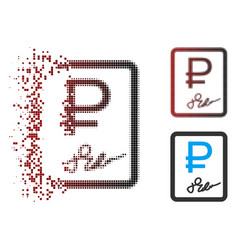 Damaged pixel halftone rouble contract icon vector