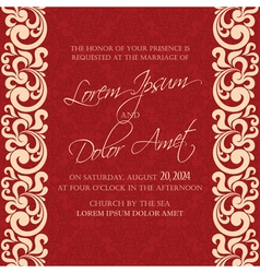 Damask wedding invitation red vector