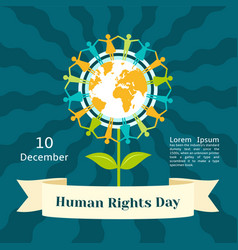 December human rights day concept background flat vector