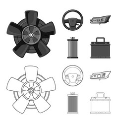 Design of auto and part sign set of auto vector