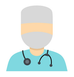 Doctor in a mask with stethoscope icon isolated vector