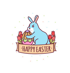 easter day with rabbit-01 vector image
