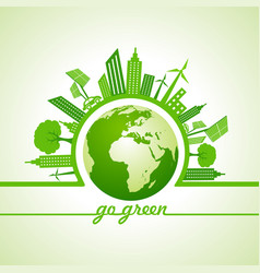 ecology concept with eco cityscape vector image