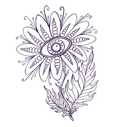 fantasy ornamental flower with the eye coloring vector image