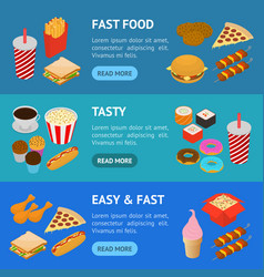 fast food banner horizontal set isometric view vector image