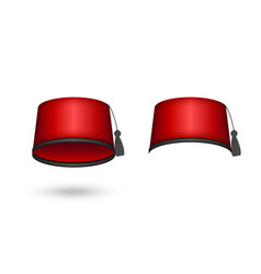Fez hat red color realistic clipart isolated vector
