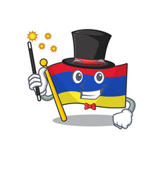 Flag armenia cartoon with in magician character vector