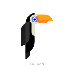 Flat geometric logo of toucan cartoon character vector