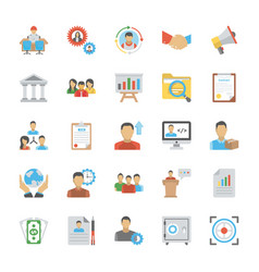 Flat icon set of human resource vector