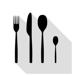 fork spoon and knife sign black icon with flat vector image