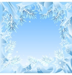Frame of fir branches frozen vector image
