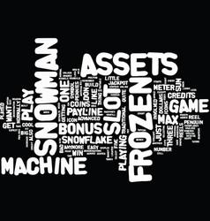 Frozen assets slot machine text background word vector