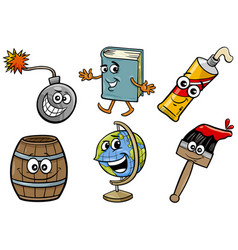Funny objects cartoon clip arts set vector