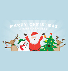 Funny santa claus snowman reindeer and tree vector