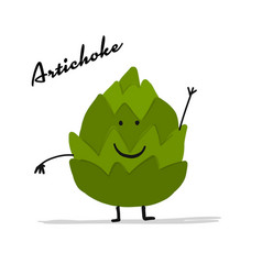 funny smiling artichoke character for your design vector image