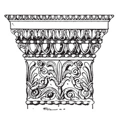 Greek doric pilaster capital erechtheum vintage vector