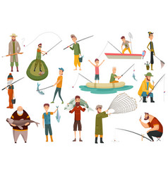 Group fishermans fishing with fish set fishing vector