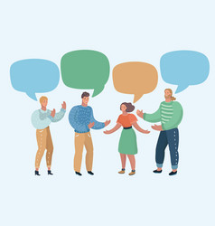 Group of people with blank speech bubbles vector