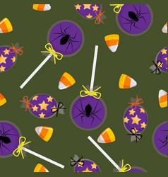 halloween candy seamless pattern vector image